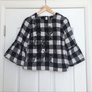 Checkered embroidered blouse